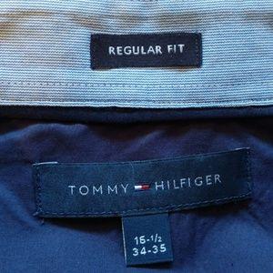 Tommy Hilfiger Men's 16 1/2 neck Dress Shirt Blue
